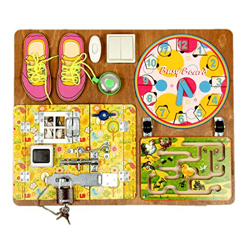 Wooden Activity Busy Board for Girls by Neskuchnye igry (Image #7)