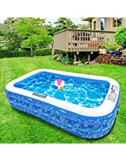 """Inflatable Swimming Pool, 95"""" X 56"""" X 20"""" Full-Sized Family Pool, Kiddie Pool, Blow Up Pool for Baby, Kids, Kiddie, Adult Inflatable Pool for Backyard, Outdoor, Garden & Summer Water Party for Age 8"""