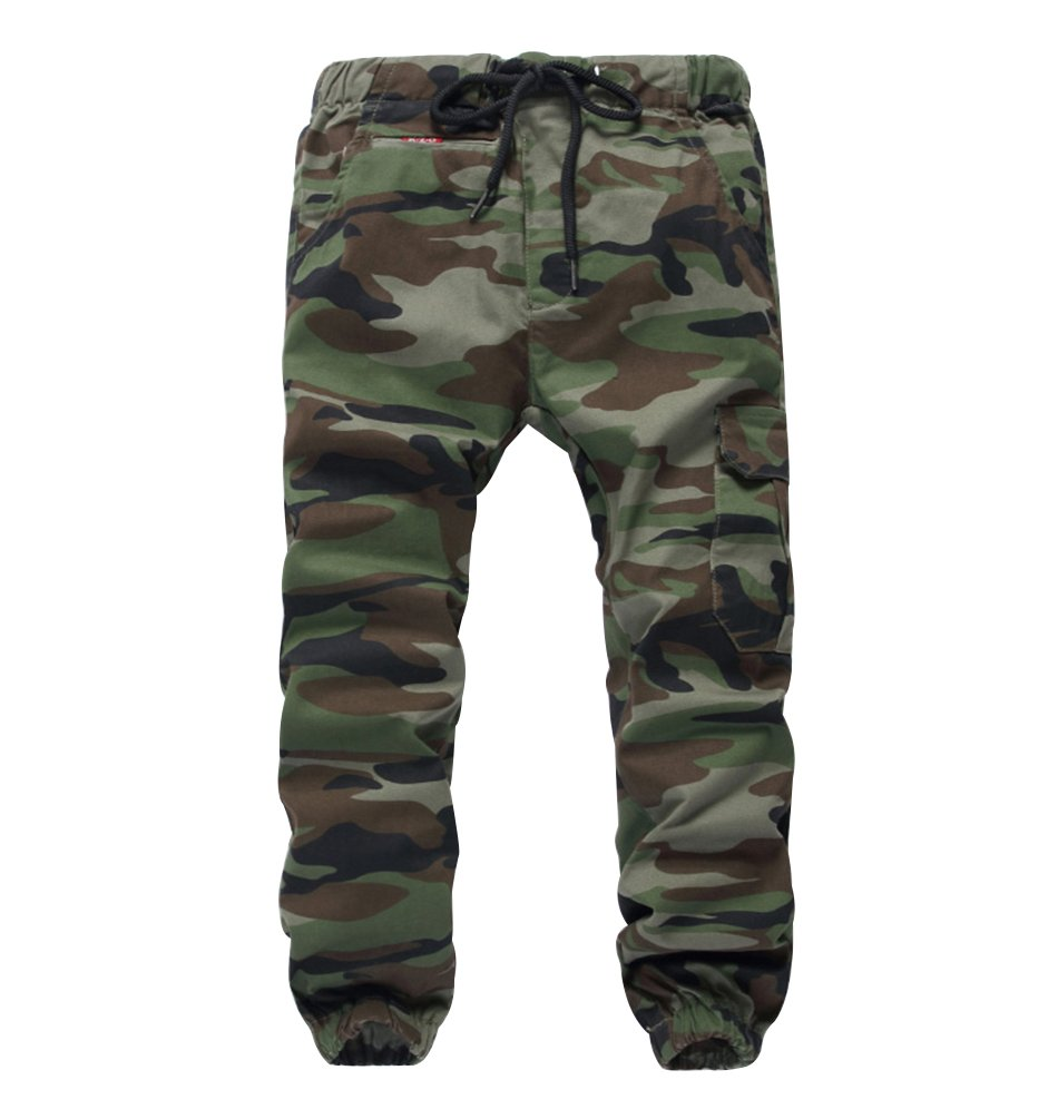 LOKTARC Boys Pull On Jogger Pants Camo Print Cuff Jogging Bottoms Army(Loose Fit) 9-10T