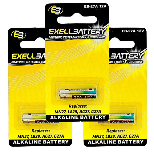3x Exell EB-27A Alkaline 12V Battery Replaces27A, A27, B-1, CA22, EL-812, EL812, G27A, GP27A, L828, MN27, R27A FAST USA SHIP
