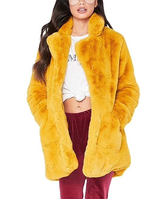 Quge Mujer Abrigo De Pelo Chaqueta Invierno Abrigo De Piel Sintética Chaqueta La Solapa Fur Jacket: Amazon.es: Ropa y accesorios
