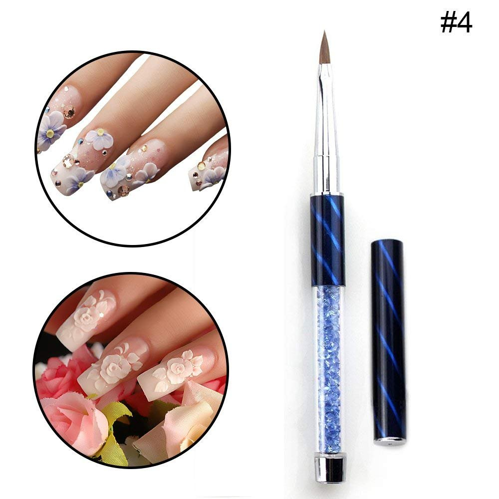 #4 Nail Art Brush 100% Kolinsky Hair Carving Pen for DIY Nail Art Design Salon Tool with Glitter Rhinestone Handle Cat Eye Cap By TPnail