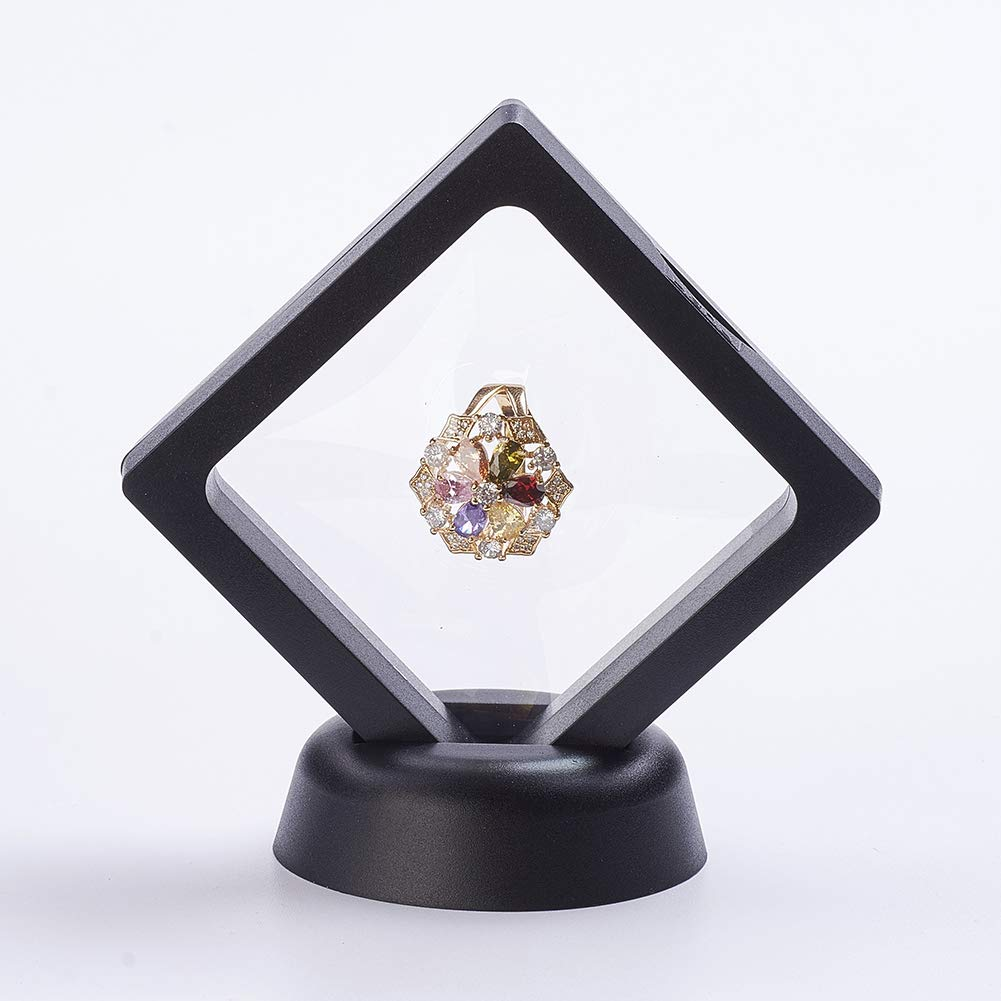 PH PandaHall About 10 Sets Plastic Floating Frame Stands for Jewelry with Transprent Membrane Rhombus Black Jewelry Display Stand for Ring, Pendant, Bracelet Jewelry Display by PH PandaHall (Image #4)