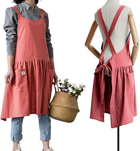 Amazon Com Japanese Cotton Linen Cross Back Apron For Women With Pockets For Cooking Baking Grapefruit Red With Waist Ties Kitchen Dining