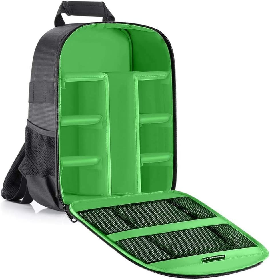 Tripod leg Camera Bag Waterproof Shockproof Partition 11x6x14 inches Protection Backpack for SLR//DSLR//Mirrorless Camera Lens Battery Color : Green