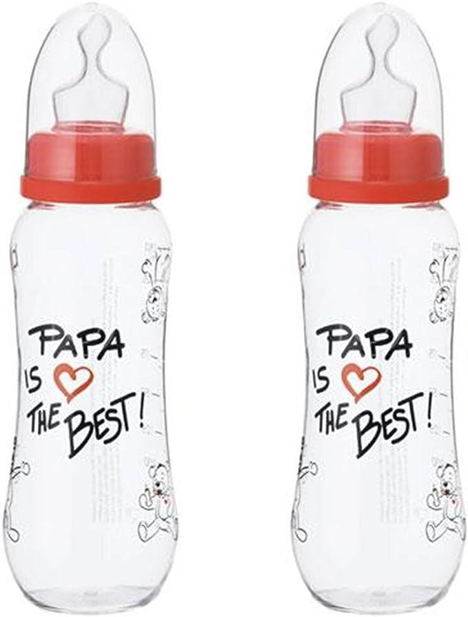 250 ml Set di 2 biberon in plastica resistente Papa is the Best con tettarella in silicone Bibi