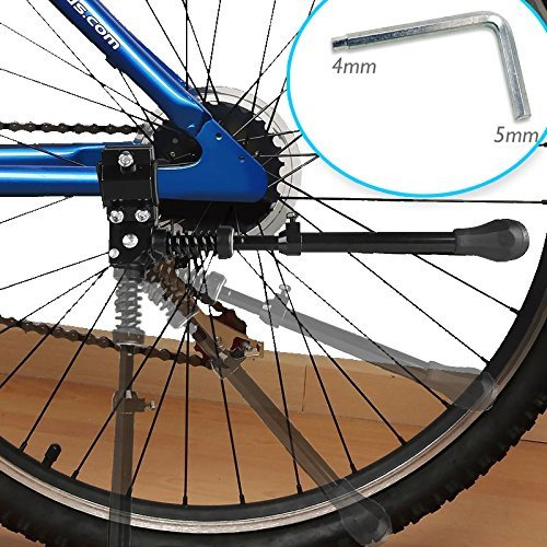 "Kseven Bicycle Kickstand - Black Adjustable Ultra Strong Durable Aluminum Alloy Side Anti-Slip Kick Stand Fits 16"" 20"