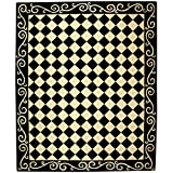 Cheap Safavieh Chelsea Collection HK711A Hand-Hooked Black and Ivory Premium Wool Area Rug (8'9″ x 11'9″)