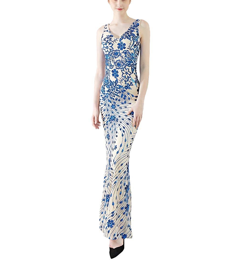 1211bluee Chowsir Women Sexy Elegant Slim Sequin Cocktail Party Evening Long Dress