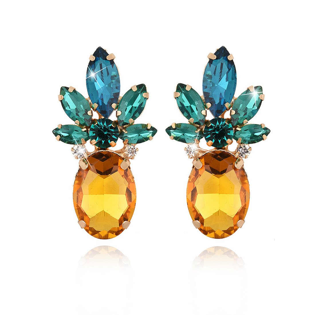 Gold Plated Rhinestone Gemstone Pineapple Design Stud Earrings for Women
