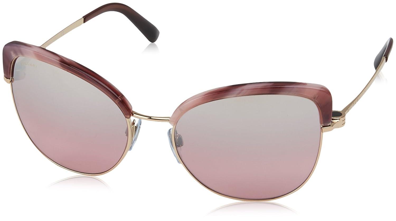 Bulgari BVLGARI Damen Sonnenbrille 0BV6082 376/8G, Schwarz (Pink Gold/Black/Grey Gradient), 58