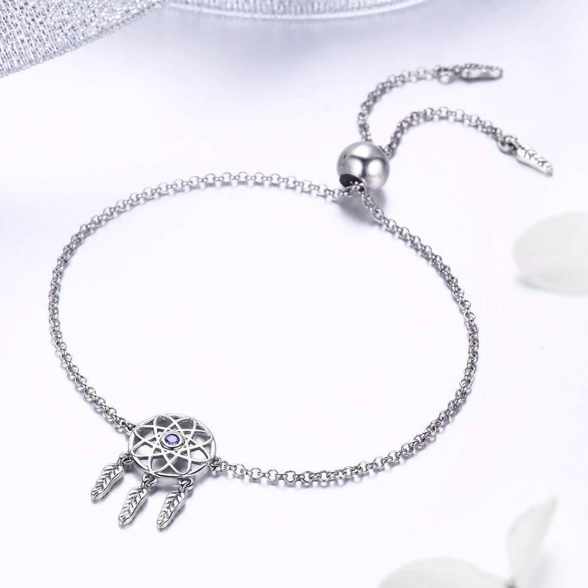 BAMOER 925 Sterling Silver Dream Net Link Chain Vintage Silver Bracelets for Women Fashion Adjustable Silver Women Bracelets Jewelry Gift Souvenir