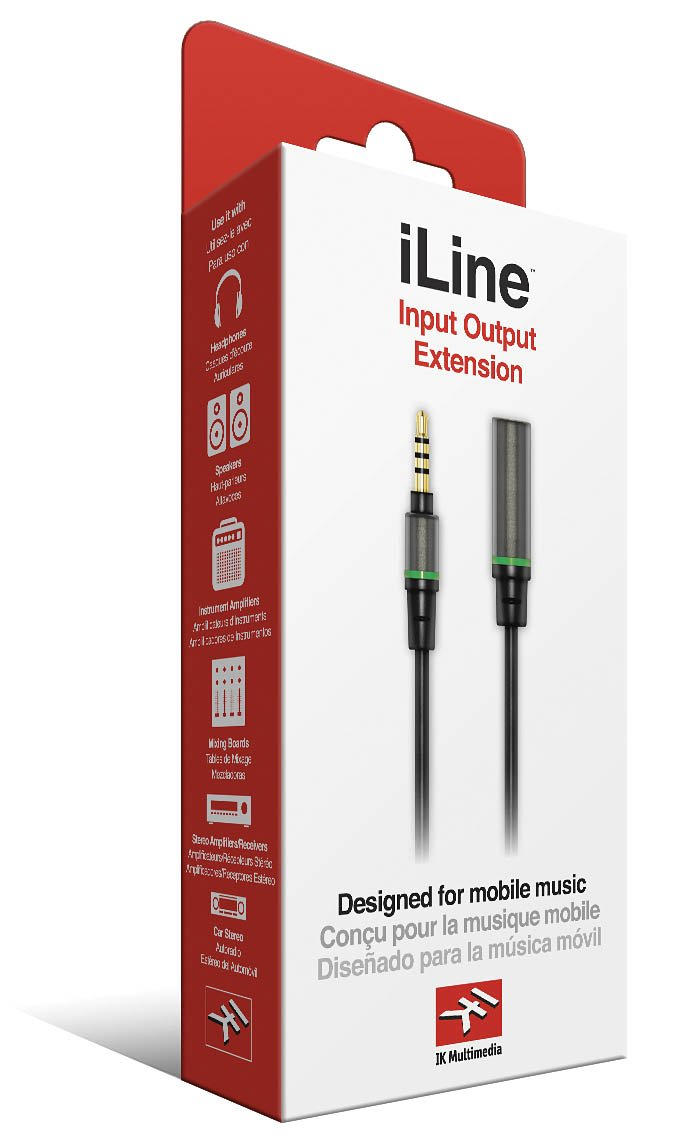 IK Multimedia iLine Input Output Extension Cable for Mobile Phones and Tablets, Retail Packaging, Black 119153