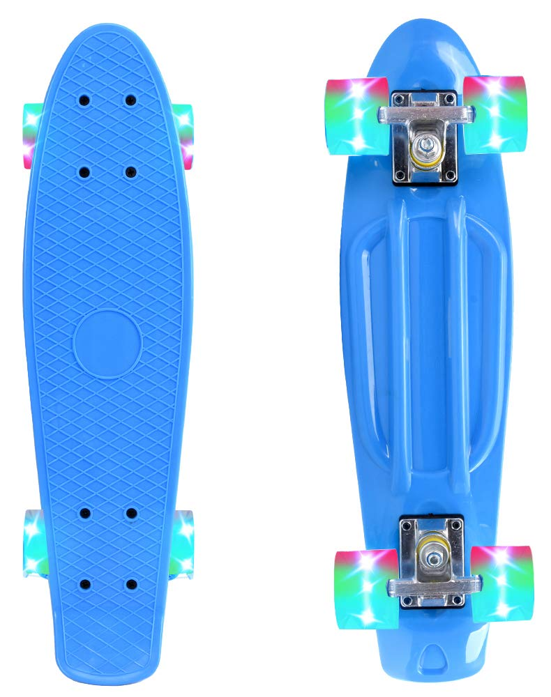 ChromeWheels Skateboard 22 inch Complete Skate Board Mini Cruiser with LED Light Up Wheels for Kids Boys Youths Beginners, Blue