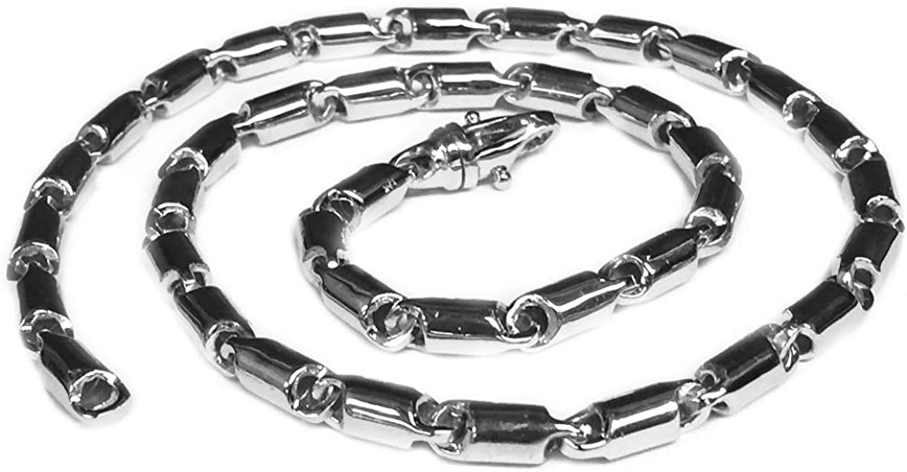 Sterling Silver Italian Handmade Link w Cylinder Chain Necklace
