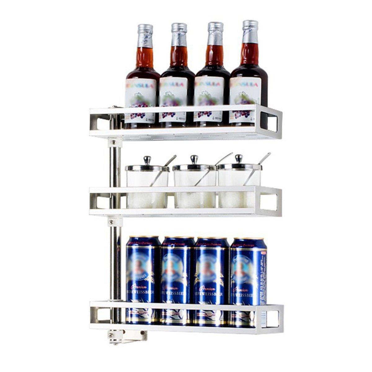 KINGSUNG Kitchen Shelves Organiser Wall-mounted Seasoning Rack Multilayer Stainless Steel Kitchen Supplies Shelves Size Optional ( Size : 3 layers )