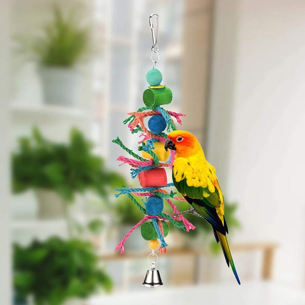 XKSIKjians Parrot Toys Bird Activity Climbing Chewing Supplie Multi-Color Wooden Ball Cylinder Block Hemp Rope Chew Swing Parakeet Toys Random Color