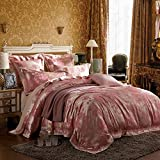 FenDie Luxury Satin Duvet Cover King Cotton 3 Piece Pink Floral Silky Jacquard Bedding Set with Ties Reversible Pattern