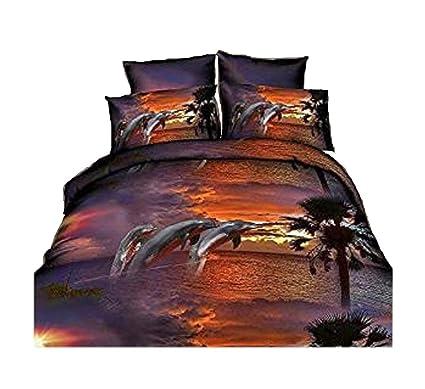 Amazon Com 4pcs Dusk Dolphin 3d Animal Printed Bedding Sets Queen