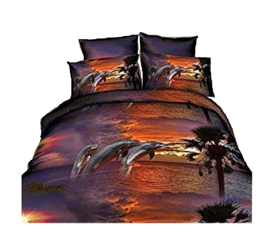 4Pcs Dusk Dolphin 3D Animal Printed Bedding Sets Queen Size Duvet Covers
