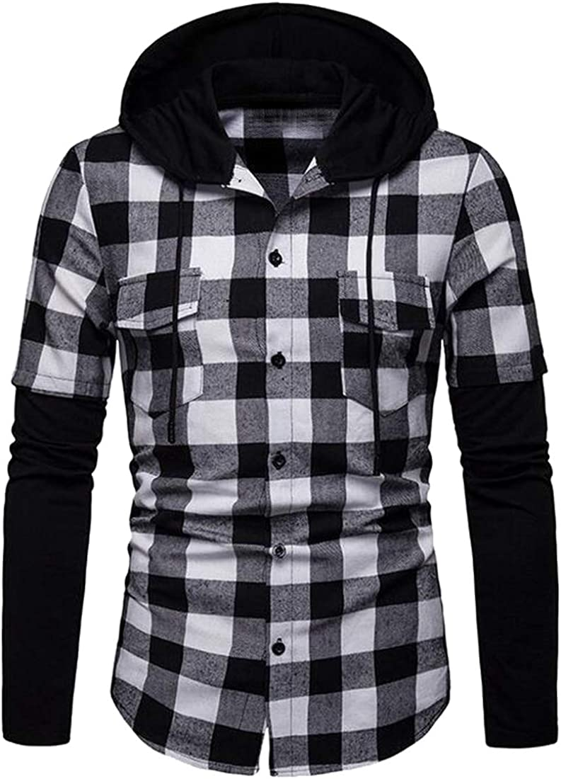 Fubotevic Men Checkered Button Down Long Sleeve Hooded Pockets Dress Shirts