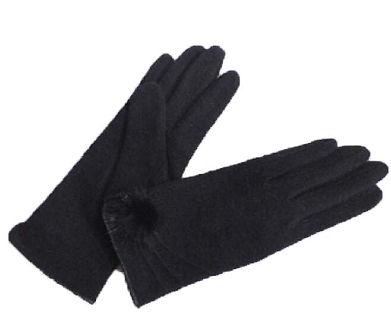 CWJ Women's Gloves Winter Warm Fashion Cute Short Paragraph,Black,Large