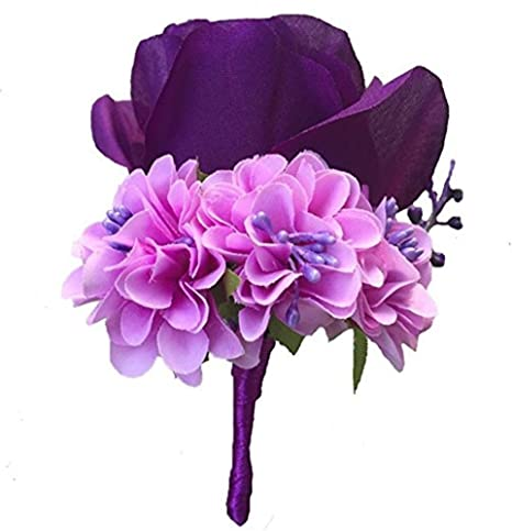 Mens Buttonhole Flower 1 Lapel Pin made to order Lavender and Rose Boutonniere Groomsmen Wedding Decoration