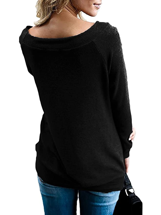 7d7e36cd55cce Halife Women s Long Sleeve Short Sleeve Boat Neck Off Shoulder Blouse Tops  at Amazon Women s Clothing store