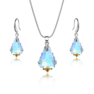 177cf29b0b47 Amazon.com  EVEVIC Swarovski Crystal Baroque Necklace Earrings Set for  Women Girls 18K Gold Plated Jewelry Sets (Iridescent Aurora Borealis)   Jewelry