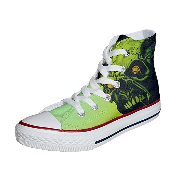 Converse Customized Adulte - chaussures coutume (produit artisanal) Green Skull size 37 EU