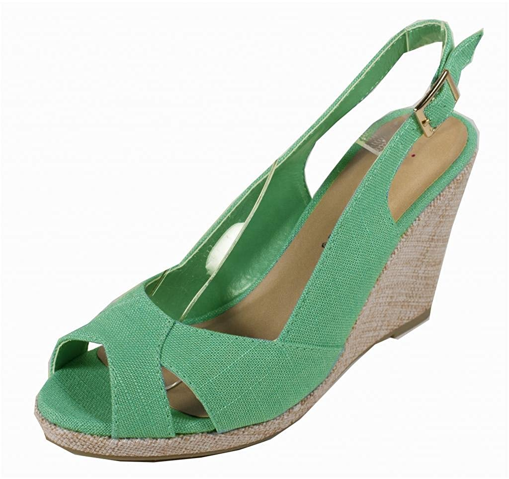 Narny! By City Classified Peep Toe Wedge Sandal with Adjustable Ankle Strap in Aqua Linen B00BF2ZOBM 7.5 B(M) US