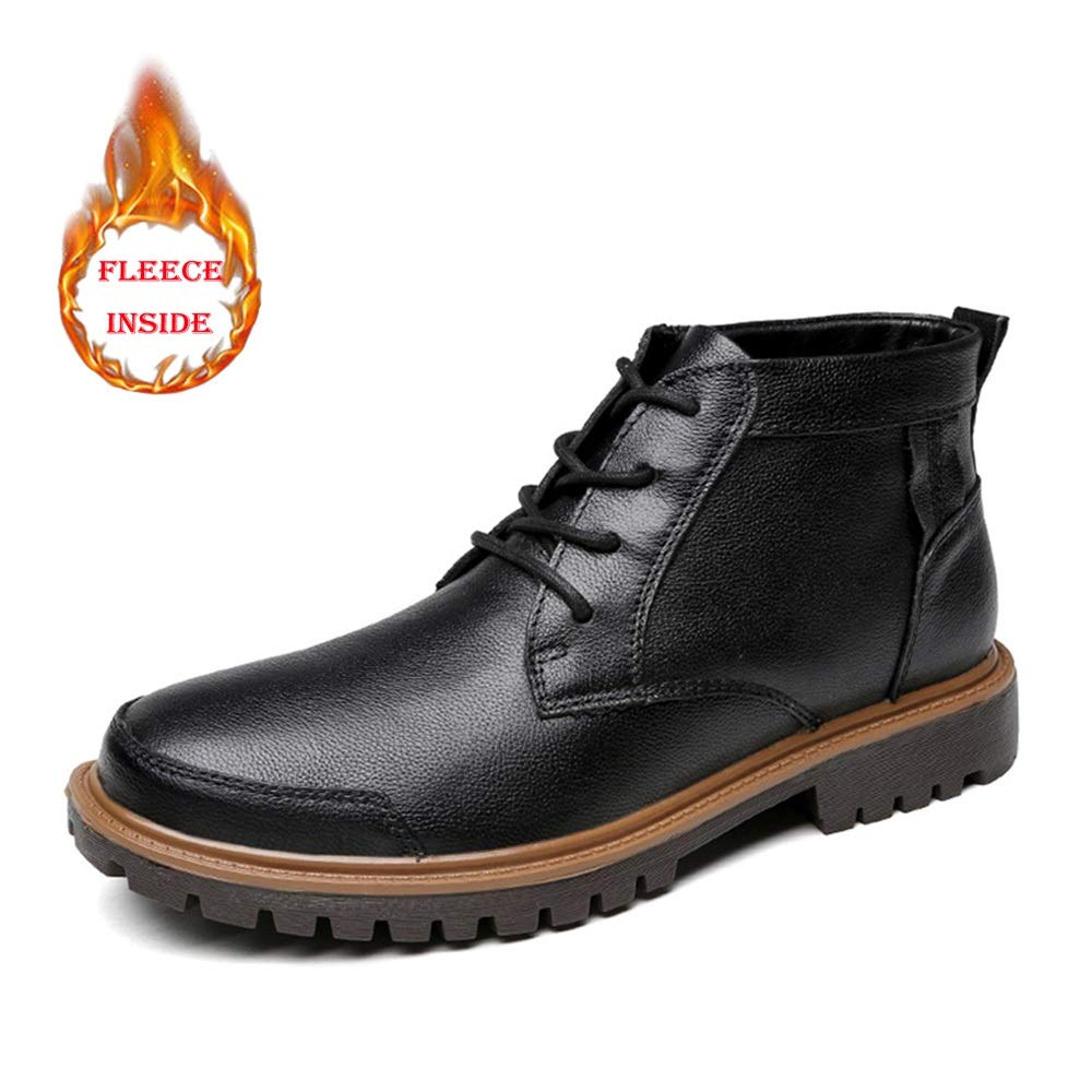 XHD-Schuhe Männer Casual Classic Pure Pure Pure Farbe Winter Faux Fleece High Top Stiefel (konventionell optional) Herrenmode Ankle Work Stiefel 4e5399