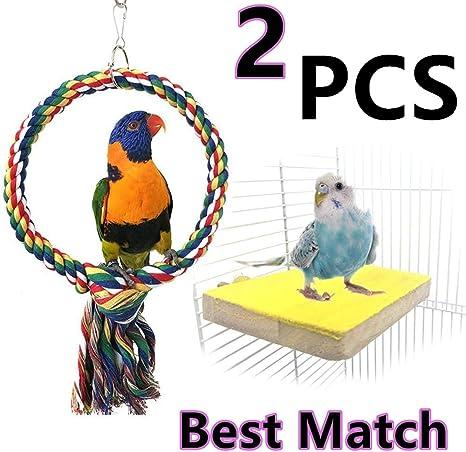 Perchas para Loros Columpios para jaulas para p/ájaros Columpios para Masticar Juguete para Masticar Aves Juguetes para morder jaulas para Loros