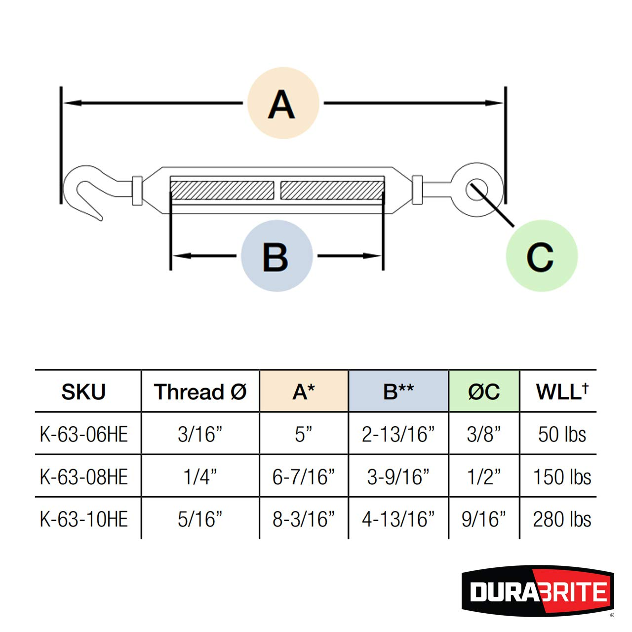 DuraBrite 316 Stainless Steel Hook & Eye Turnbuckle 5/16'' Marine Grade - 5 Pcs