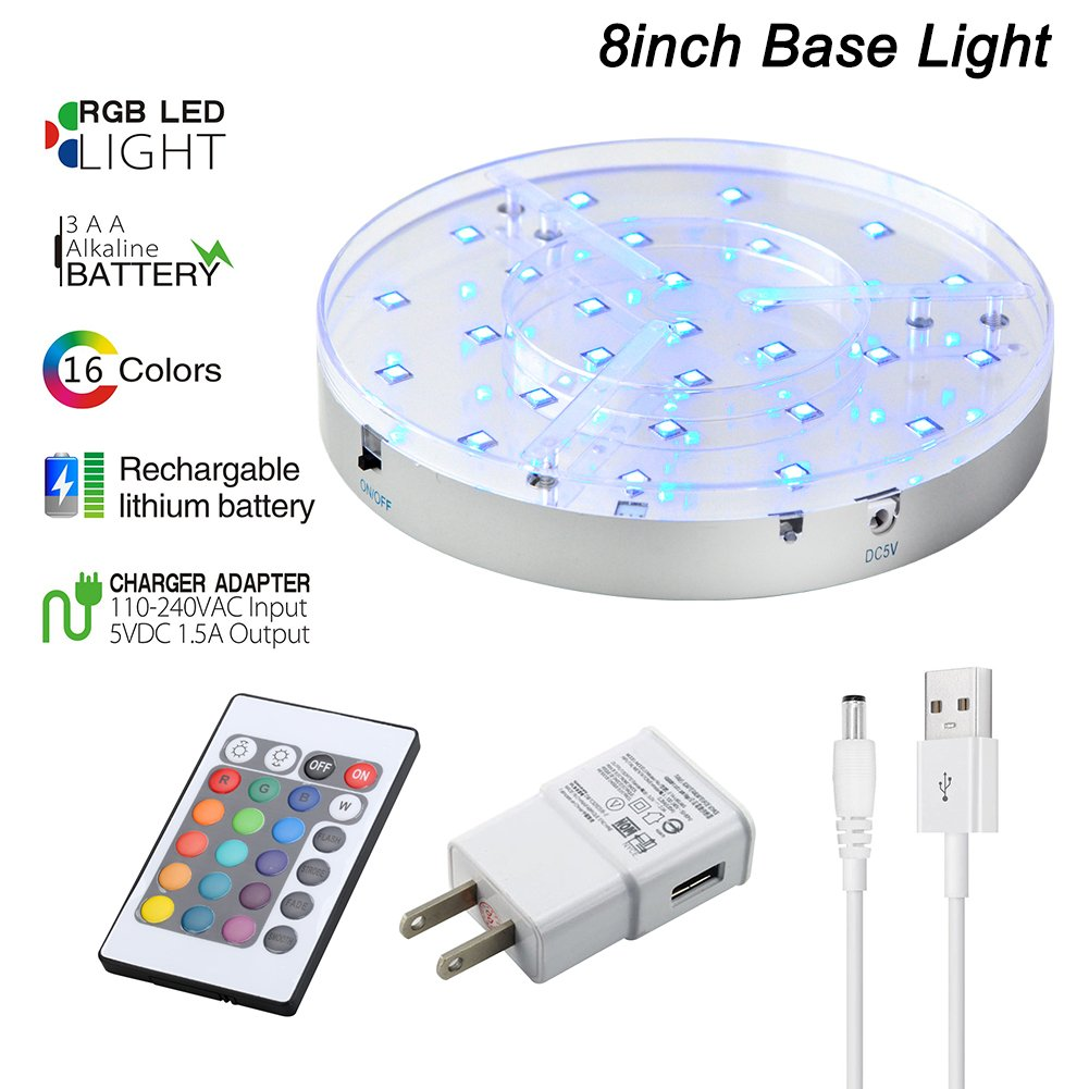 8inch Base lights - Remote Multicolors RGB LED Rechargeable Lithium Battery + AA Battery Operated 1.4inch Tall Round Silvery Plate for Wedding Party Events Home Floral Vases Glass Crystal Decor
