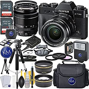 Fuji XT20 Body with XC18-55mm Lens Kit - Black + 2 x 32GB Memory + Deluxe Photo Accessory Bundle
