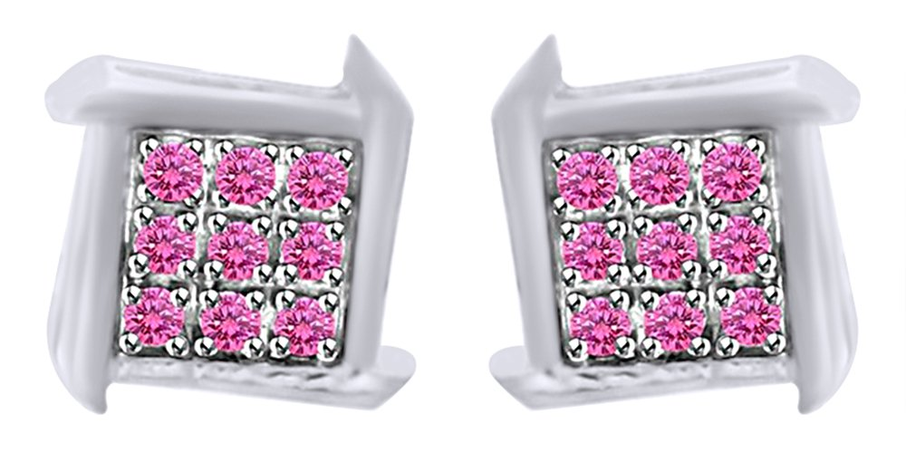 Round Cut Simulated Pink Sapphire Zig-Zag Square Stud Earrings In 10k Solid White Gold by AFFY