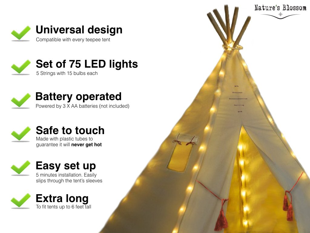 Universal Design Natures Blossom Fairy Lights for Kids Teepee Tents Battery Operated Set of 5 Strings with 75 Bright LED Bulbs Teepee Tent NOT Included Our Light Set Fits Most Kids Playhouses