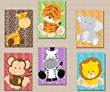 zoo animal pictures - Safari Nursery Décor,Jungle Animals Nursery Wall Art,Zoo Animals Nursery Wall Art,Safari Jungle Nursery Decor,,Animals Baby Shower Décor Gift-UNFRAMED Set of 6 PRINTS (NOT CANVAS)C408
