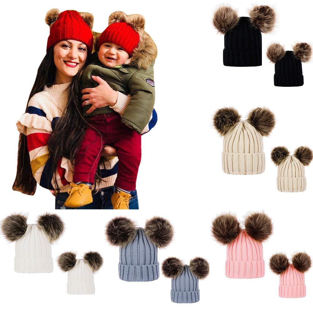PLOT❤Family Matching Hat Cap Keep Warm Winter Fur Ball Knitted Wool Parent-Child Hats