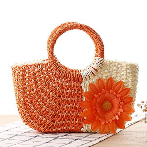 Handbags Wicker Flower Handle MANFDGABNGS Orange Women 100 Top Bali Handmade Rattan Bags Summer Bags Beach Women's Straw xvwPvSYq