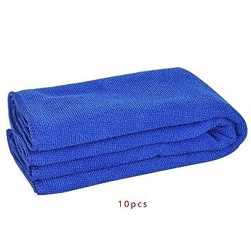 Babysthreath17 10pcs Microfibra Agua Absorbe Car Soft Lavado del Cuerpo de Limpieza para Mascotas El Secado del Cabello en casa para Polvo Toalla Azul 30 ...