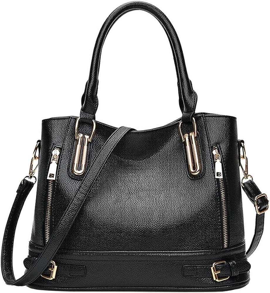 onestaring Tote Bag,Fashion Solid Color Buckle Zip Tote Crossbody Shoulder Bag for Women Girls