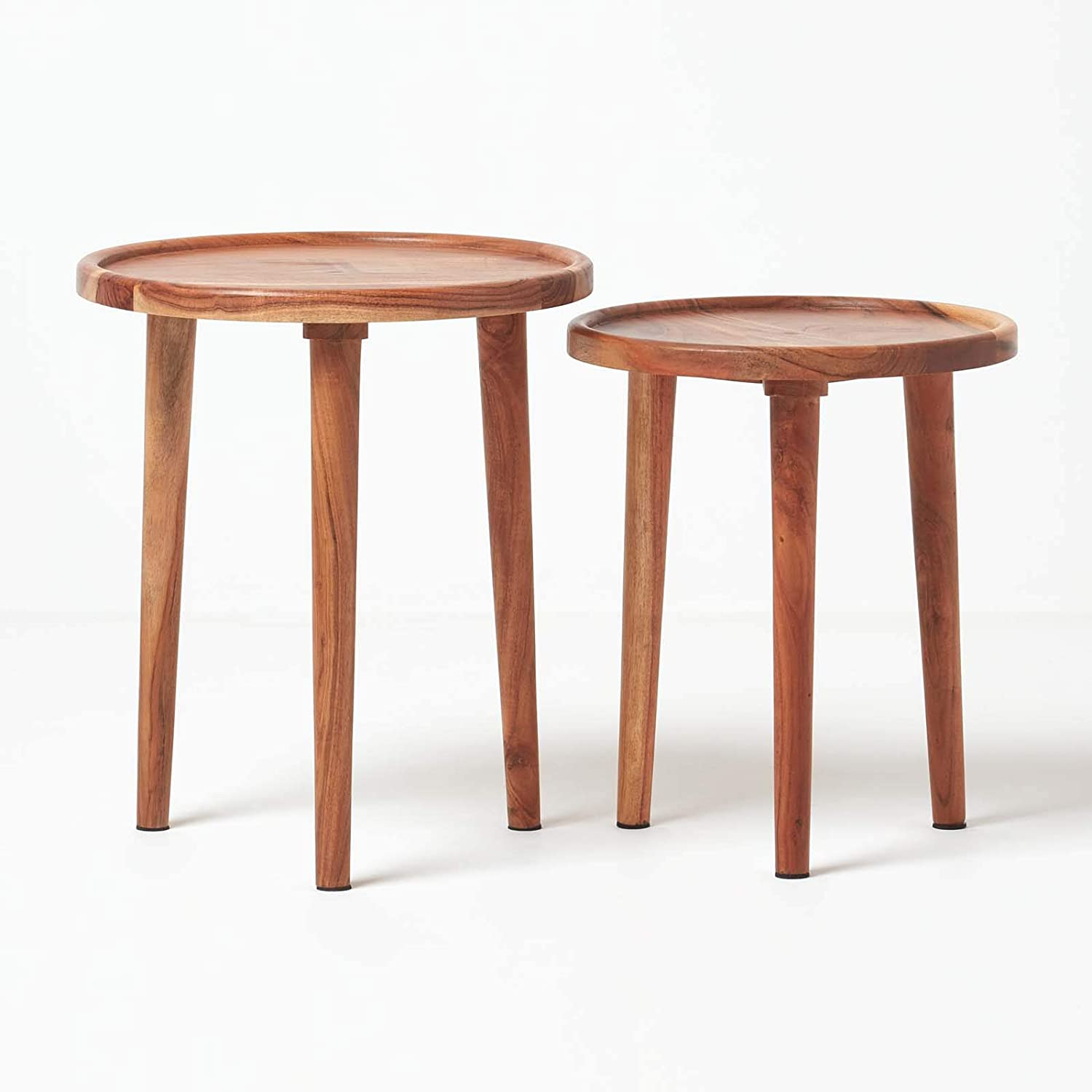 HOMESCAPES Dark Wood Soho Nest of 2 Tripod Tables Handcrafted From Solid Mango Wood With 3 Wooden Legs Modern Style Space Saving Compact Side Tables or Coffee Tables H 47cm x W 40cm