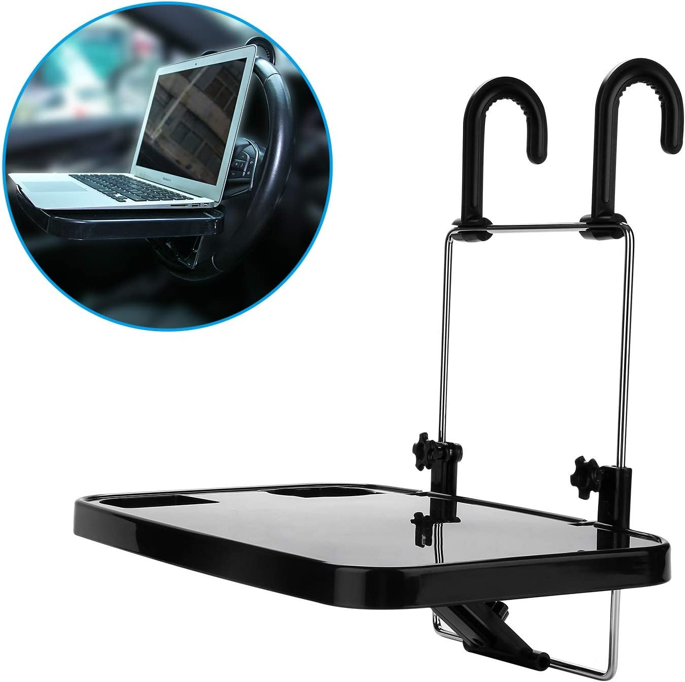KONGDY Car Steering Wheel Laptop Trays Portable Hanging Auto Lunch Desk Car Table Steering Wheel Mate Foldable Vehicle Back Seat Table for Food/Drink/Notebook/Cup Holder
