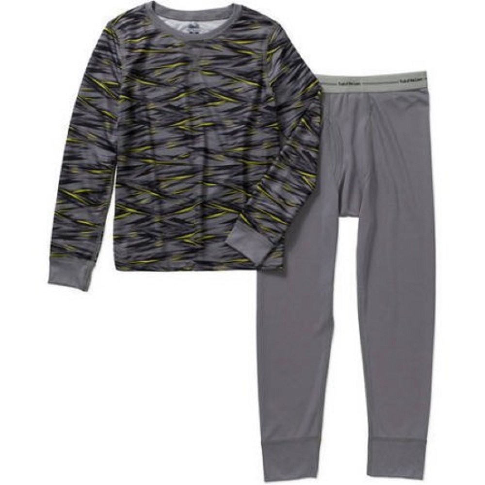 Fruit of the Loom Boys Core Performance Thermal Top & Bottom Underwear Set Sharp Strip Grey Flannel)