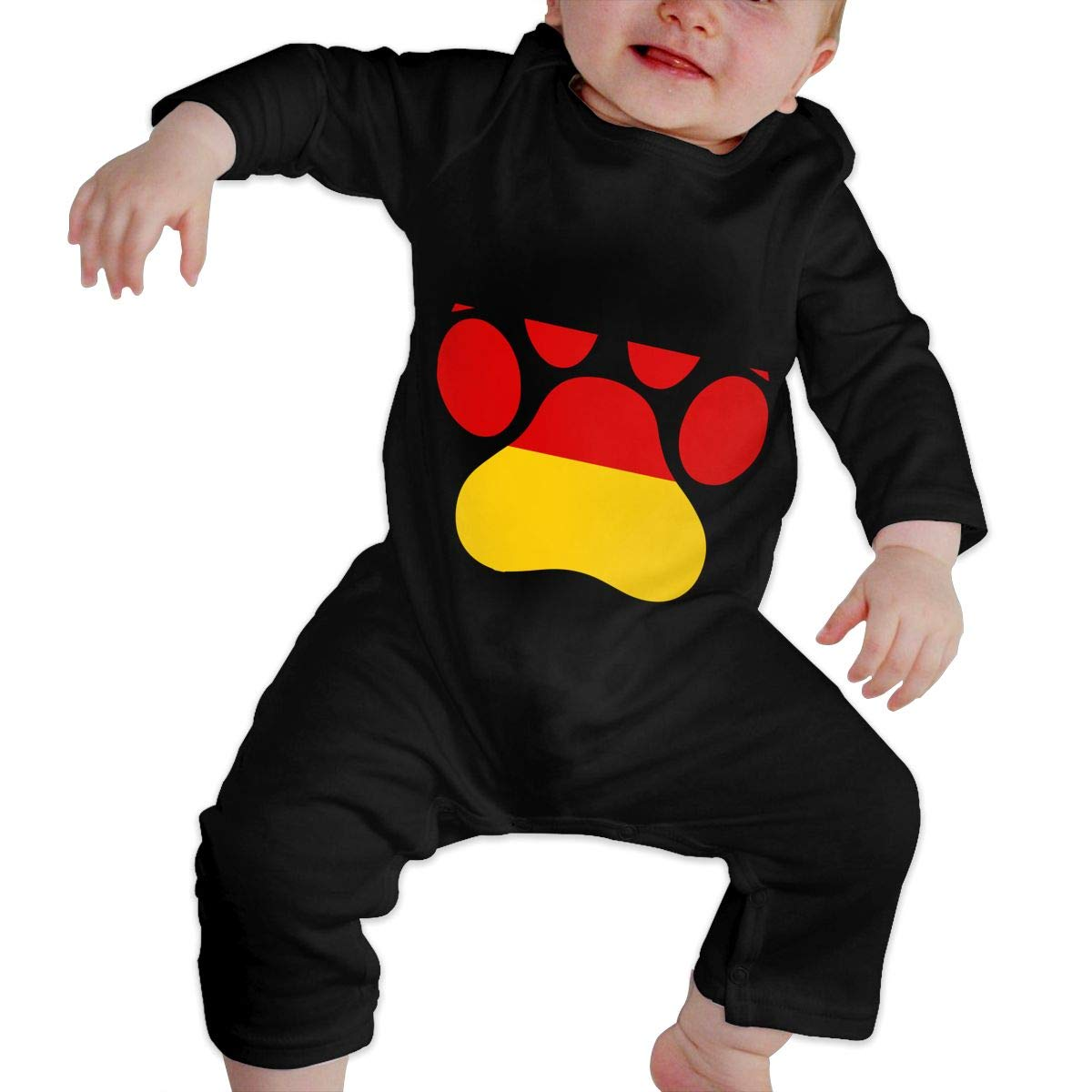 Soft Germany Flag Dog Paw Playsuit Long Sleeve Cotton Bodysuit for Baby Boys and Girls