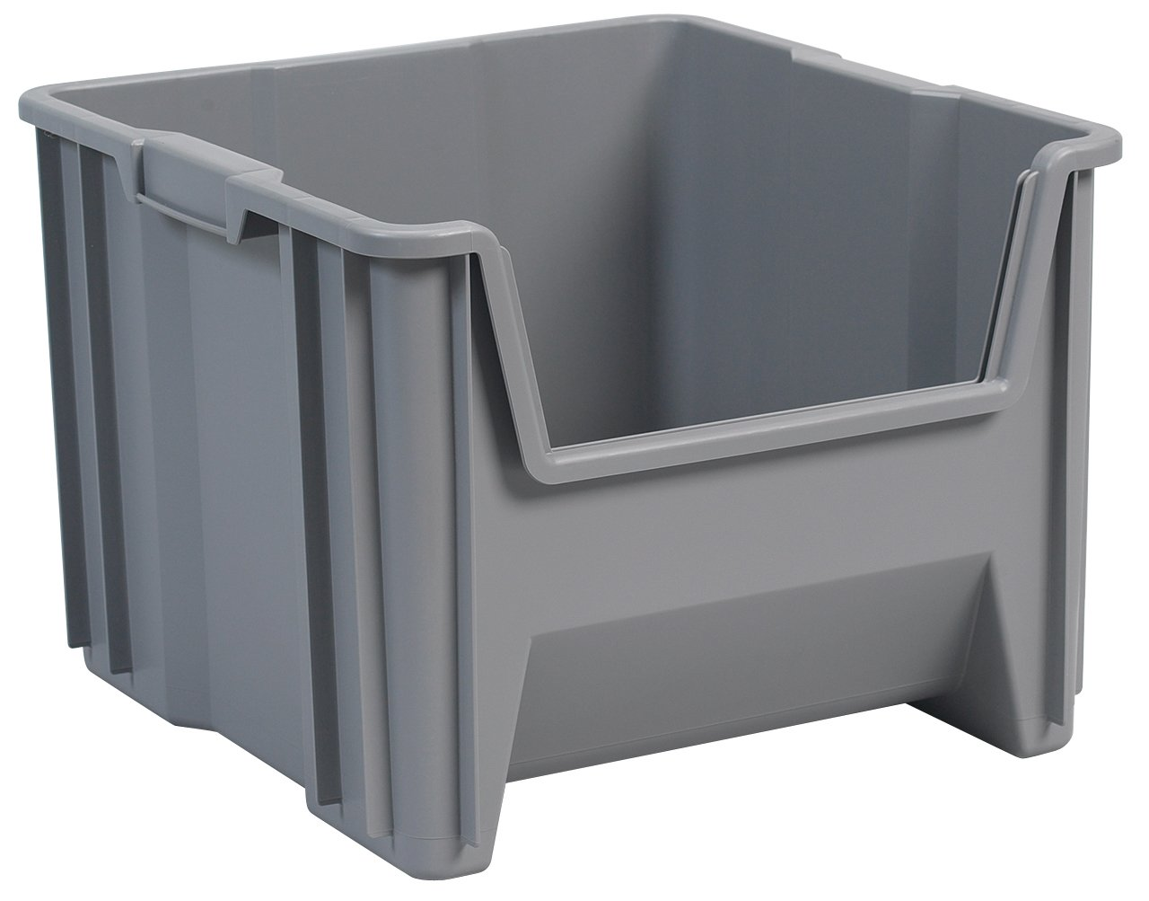 Awesome Front Opening Storage Containers Part - 12: Akro-Mils 13018 Stak-N-Store Stacking Hopper Front Plastic Storage Bin,  Grey, Case Of 2 - Open Home Storage Bins - Amazon.com