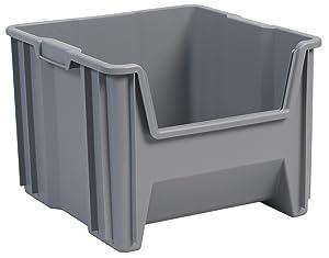 Akro-Mils 13018 Stak-N-Store Stacking Hopper Front Plastic Storage Bin, Grey, Case of 2