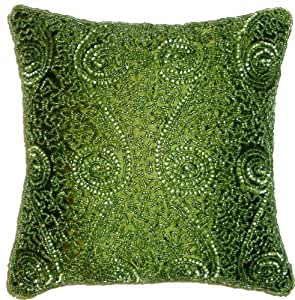 Cotton Craft - Swirl Hand Beaded Pillow - Green - 12 In Square - Other colors - Black, Peacock, Silver, Chocolate and Gold - Hand Crafted by skilled artisans